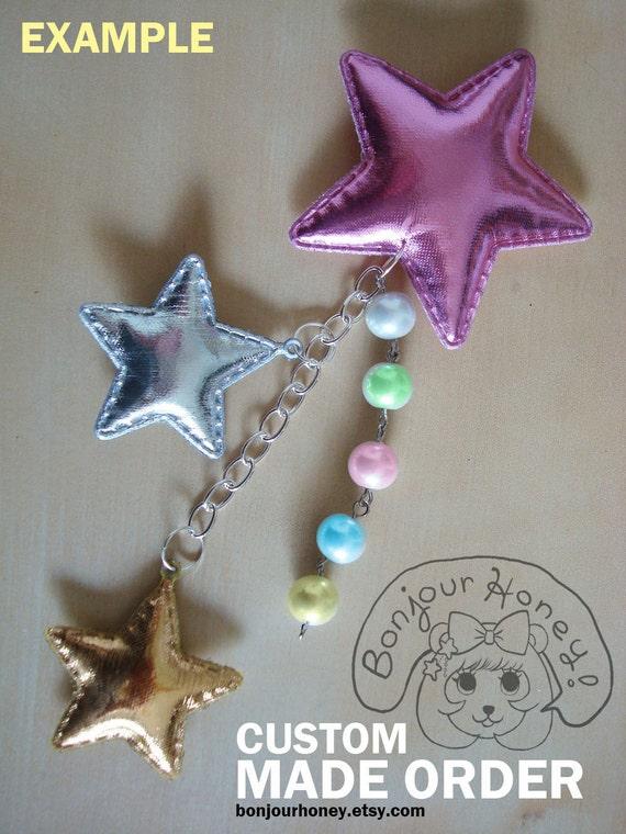 CUSTOM Shiny Shooting Star Hairpin Brooch w/ pearls - Any way you want