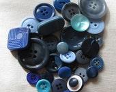 Vintage Button Mix - Blue 1