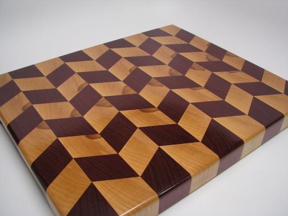 Premium, Stylized Purpleheart and Hard Maple End-Grain Cutting Board.