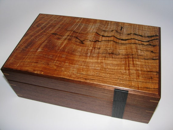 Reserved - Upscale Designer Wooden Keepsake Box. Inlayed Handplaned Ebony Texture. A Perfect Fathers Day Gift.