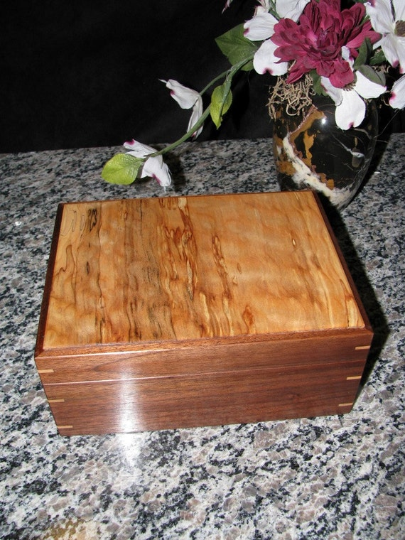 Quilted Maple and Walnut Keepsake Box with Many Special Touches.