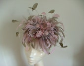 Large Pale Pink And Latte  Feather Flower Fascinator   With Guinea Fowl Feathers And A Selection Of Fresh Water Pearls