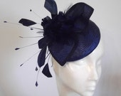 Navy & Dark Royal Blue Straw Pillbox With Feather Flower