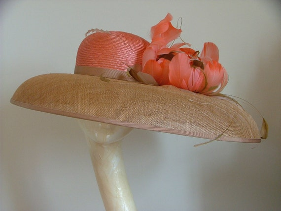 Large Bronze Brimmed Coral  Deep Peach Orange Hat Hatinator With A Orange Coral Peach Nude Feather Poppy Flower