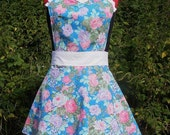 Retro Apron Full Women Floral Blue Pink White With Bib 1950s Pin Up Style
