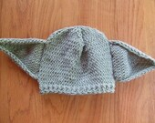 Knitted Yoda Hat Beanie - Baby, Child, Adult Sizes