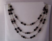 Black and Smoky on Silver Chain - N72