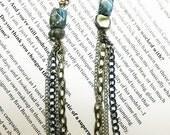Jasper and Pyrite Dangle Earrings