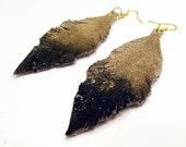 SALE save 5USD Gold and Black Ombre' Leather Feather Earrings