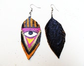 SALE save 10USD Neon All Seeing Eye Tribal Leather Feather Earrings