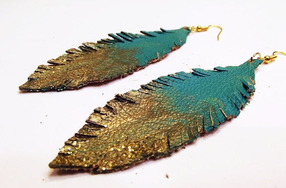 SALE save 5USD Teal and Gold Ombre' Leather Feather Earrings