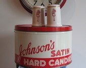Vintage Johnson's Candy Round Tin With Salt and Pepper Shakers