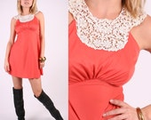 Vintage 60s Coral Pink Lace Halter Mini Dress s