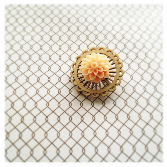 delicate blossom flower brooch - pastel orange