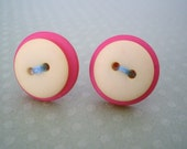 Cute as a Button - Pink, Yellow and Aqua Earrings