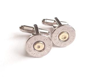 Bullet Cufflinks 7mm Mag Bullet Cuff Links Nickel Thin Silver Tone RP-7MM-BN-CL