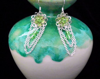 Green Swarovski Crystal Daisy Earrings