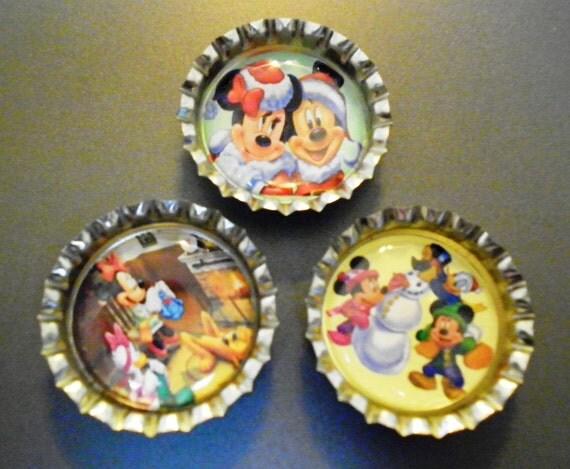 Disney Christmas Bottlecap Magnets
