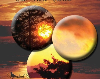 Circle Digital Collage Sheet Sunset 1 inch Printable Circle Images Bottlecap images Collage Sheets