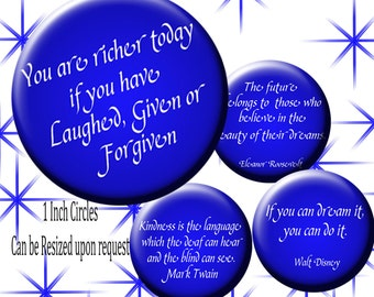 Digital Collage Sheet Inspirational Quotes Blue Circle images bottlecap images,152  Scrapbooking , Wine Charms, Cake Topper images