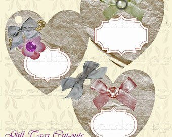 Digital Gift Tags Printable Valentine Labels Heart Tags Valentine Tags Wedding Birthdays or any Occasion