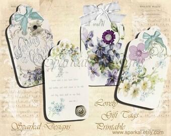 Digital Gift Tag Printable Floral Wedding Gift Tags Printable Hang Tags Shabby Chic