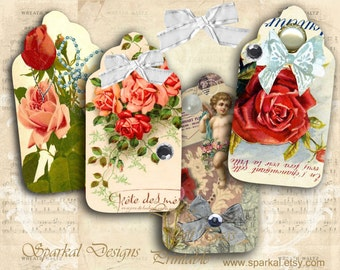 Printable Vintage Floral Gift Tags Printable Wedding Tags Printable Gift Tags Shabby Chic Roses