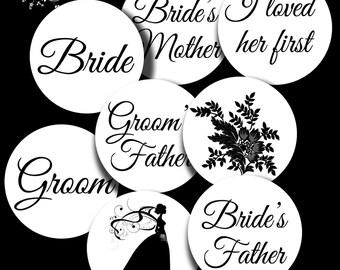 Circle Digital Collage Sheet Vintage Digital Wedding 1 inch Circle images Bottlecap Pendant Images  L1001