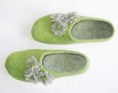 Womens Wool Slippers Flower Girl Handmade Felt House Shoes Felted Slippers Spring Green, Forest, Avocado, Grass Green Gift for Her Cold Feet