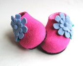 KIDS Durable Sole Felted Shoes fuschia with 3D Felt Flowers Pastel Blue Teal. High Ankle. All sizes for Kids. Outdoor Indoor. Made to order