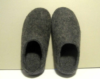 Felted Slippers Organic Wool Winter Booties Gray Charcoal, Rubber Soles 7 Color Variations, Eco-Friendly Felted Shoes For Outdoors, Gift Him