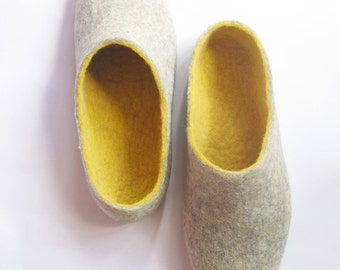 Men Felted Slippers, Boiled Wool Clogs, Wool booties, Organic Wool Boots, Personalized Gifts, Stylish Grandfather, Eco Friendly Gift for Dad