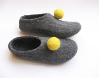 Gray Boiled wool house Shoes Pom Pom Teal Slippers grey Gray Unisex Wool Slippers Warm house slippers easy slippers Balls Polka Dots shoes