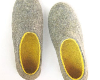 Felted Wool Slippers - Mens Wool Boots - Minimalist Shoes - Rubber Soles - Mens Shoes - Christmas in July - Gift for Him