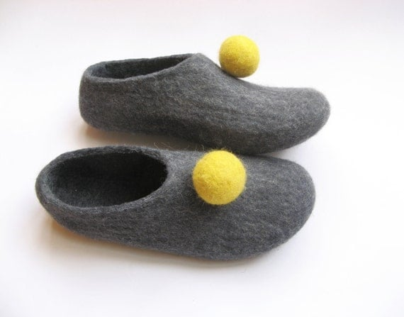 Items similar to felted circus slippers womens house for Minimalist house slippers