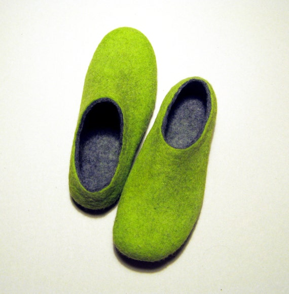 Items similar to lime felted slippers wool shoes for Minimalist house slippers