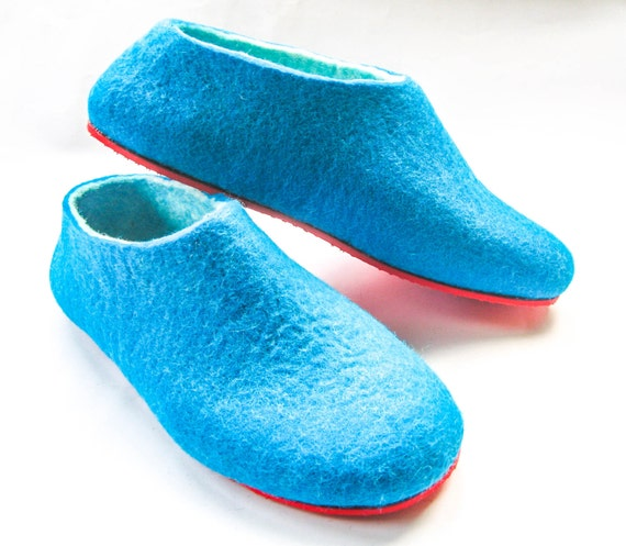 Items similar to turquoise felt slippers felted wool for Minimalist house slippers