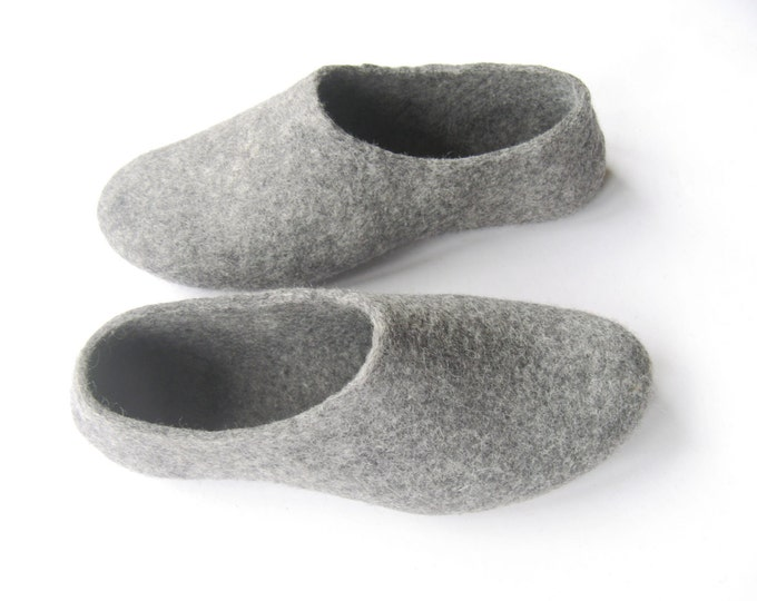 Gray Felted Slippers, Womens Wool House Shoes with Rubber Soles, Organic Felt Shoes, Indoor Outdoor, Gift for Her, Felt Slipper, Custom Fit