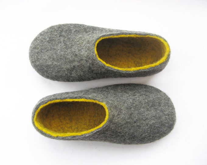 Womens House Slippers - Felted Wool Shoes - Handmade Shoes - Organic Wool - Color Blocking - Womens Shoes - Organic Slippers - Rubber Soles