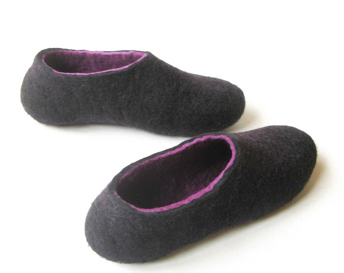 Orchid Felt Slippers - Wool Slippers - Minimalist Shoes - Mix and Match - Rubber Soles - Gift for Her - Natural Shoes - House Shoes