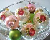 Vintage Shabby Chic Christmas Bulbs set of four