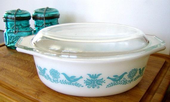 Pyrex Bluebird Turquoise White Casserole Dish & Lid