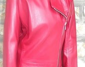 French Vintage lamb leather red coat long jacket size S/M like new