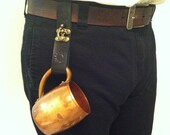 Leather Steampunk Mug / Accessory Strap with Metal Swing Clasp