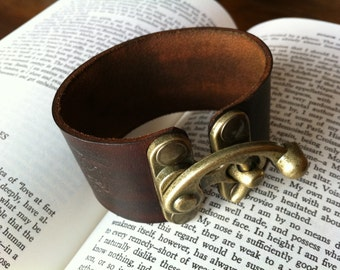 Leather Steampunk Bracer / Bracelet / Cuff with Antique Brass Swing Clasp