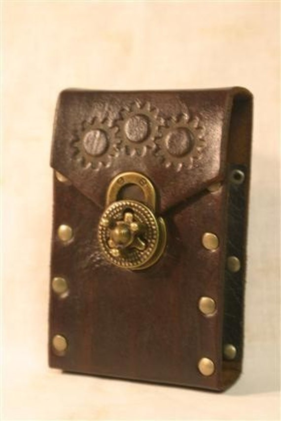 Leather Steampunk Cellphone Smartphone Case / Holster by FiendishWear steampunk buy now online