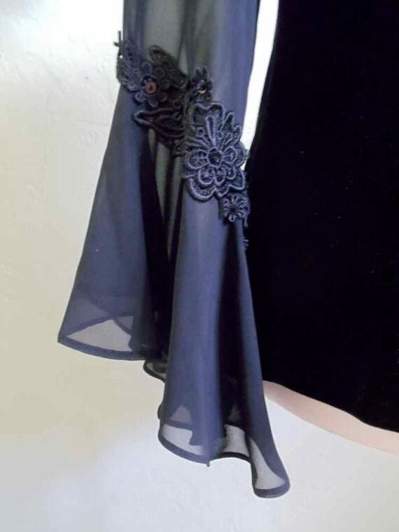 Sandra Darren Black Velour Evening Blouse with Sheer Sleeves