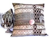 20x20 Handmade Designer Pillow Cover in a Woven Texture Fabric Shades of Tans,  Brown, Sage, Cream,  Aqua. Accented with a Wood Button.