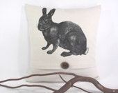 14X14 Handmade  Pillow Cover in Bleached Denim Fabric, With Printed Image of a Rabbit in Black Accented with a Wood Button