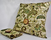 Pillow Cover 20x20 Linen Paisley Print Fabrc in Green tones on a Butter Cream Background. Wood Button Accent.